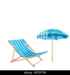 chaise longue, sun umbrella, digital clip art on white background - Stock Photo