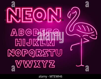 80 s purple neon retro font and flamingo. Futuristic chrome letters. Bright Alphabet on dark background. Light Symbols Sign for night show in club. concept of galaxy space. Outlined version. - Stock Photo