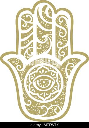 The Hamsa Hand, Ancient Middle Eastern amulet symbolizing the Hand of God. - Stock Photo