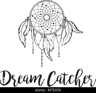Dream Catcher Logo, Native Americans talisman to protect sleeping people from bad dreams - Stock Photo