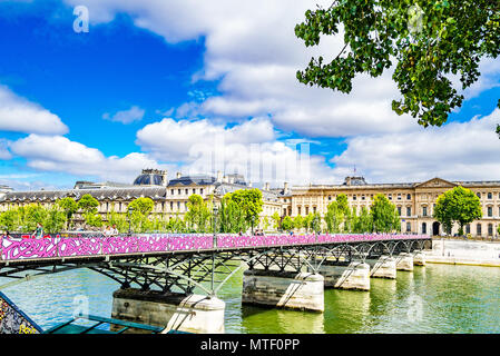 The Pont des Arts, also known as the Passerelle des Arts over the River Seine in Paris, France - Stock Photo