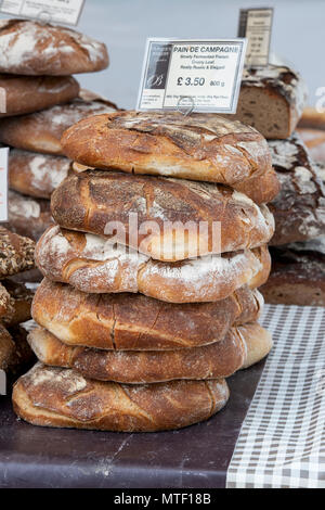 Pain de campagne / French sourdough bread on a stall at a food festival. Oxfordshire, England - Stock Photo