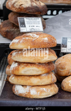 Pain Au Levain / White Sourdough bread on a stall at a food festival. Oxfordshire, England - Stock Photo