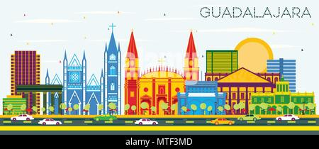 Guadalajara Mexico Skyline with Color Buildings and Blue Sky. Vector Illustration. Business Travel and Tourism Concept with Historic Architecture. - Stock Photo
