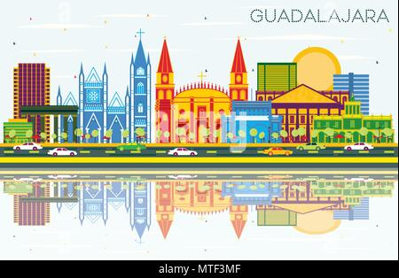 Guadalajara Mexico Skyline with Color Buildings, Blue Sky and Reflections. Vector Illustration. Business Travel and Tourism Concept - Stock Photo