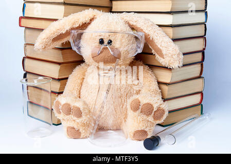 A toy rabbit in protective glasses with beakers and flasks sits near a pile of books. - Stock Photo