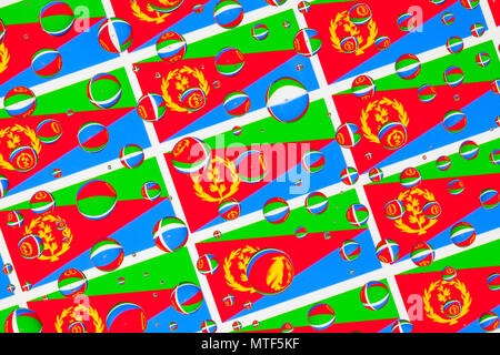 Flags  of Eritrea, behind a glass covered with rain drops.Pattern from flags of Eritrea - Stock Photo