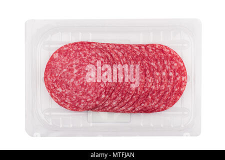 top view of smoked salami sausages slices in transparent vacuum plastic packaging isolated on white background - Stock Photo