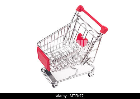 top view closeup of shiny aluminum empty miniature shopping supermarket cart with red handle isolated on white background - Stock Photo