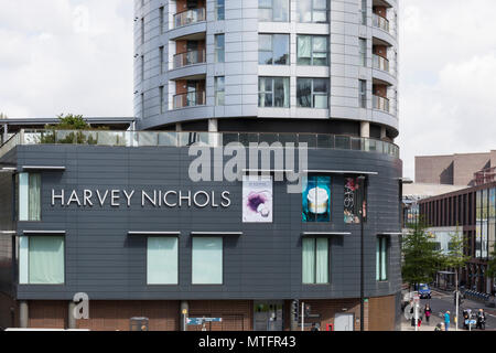 Harvey Nichols store and the  Eclipse Tower apartments above,   Philadelphia Street, Quakers Friars, Bristol, England - Stock Photo