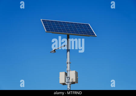 Solar Powered Lamp Post On A Rural Area In China Asia