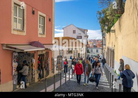 Rua do Milagre de Santo António in the Alfama district, Lisbon, Portugal - Stock Photo