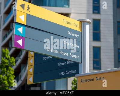 Titanic Trail sign giving directions to places of interest - Stock Photo
