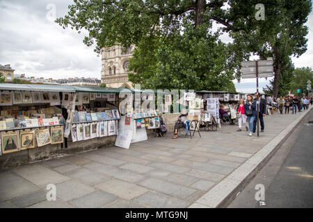 Paris, France - July 22, 2017: Painting and book stalls along the River Seine