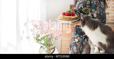 Photo of happy young woman standing at the kitchen near the window in home and cat. Focus on pancakes. Copy space - Stock Photo