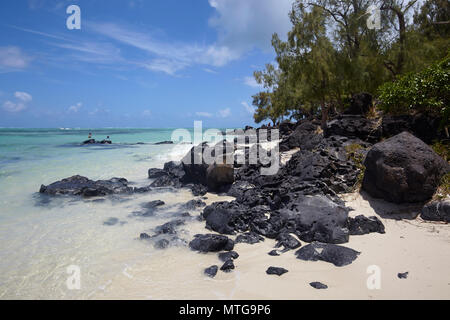 The clear water and white beaches in Ile aux Cerfs, Mauritius - Stock Photo