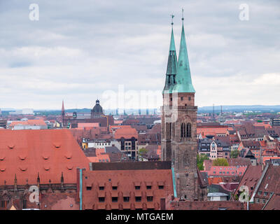 View over the Old Town of Nuremberg (Nürnberg), Germany - Stock Photo