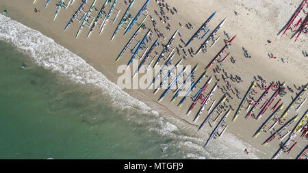 Aerial view Outrigger Canoe teams competing in the Santa Barbara Rig Run 12 mile Championship race - Stock Photo