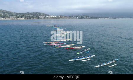 Outrigger Canoe teams competing in the Santa Barbara Rig Run 12 mile Championship race - Stock Photo
