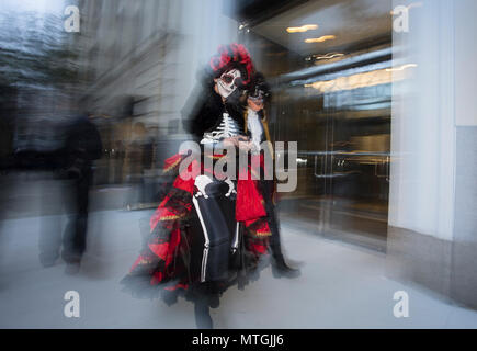 NEW YORK, NY/USA - October 31, 2015: Halloween Parade. Parade participants - Stock Photo
