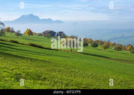 Amazing Landscape of Mount Pilatus and Lake Lucerne covered with frog, Alps, Switzerland
