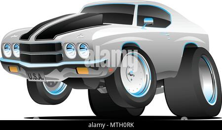 Classic Seventies Style American Muscle Car Cartoon Vector Illustration - Stock Photo
