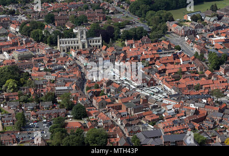 aerial view of Beverley town centre, market place & St Mary's church, East Yorkshire, UK - Stock Photo