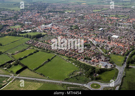 aerial view of Beverley town centre, East Yorkshire, UK - Stock Photo
