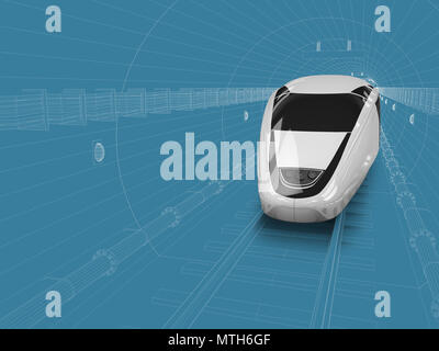 3d illustration of train enters in the tunnel, blue and white drawing.