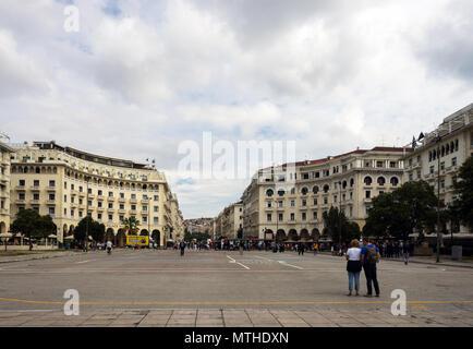 Thessaloniki, Greece, 09/28/2017: Aristotelous square in Thessaloniki - Stock Photo