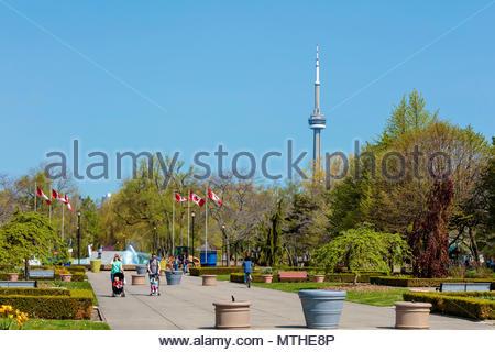 Toronto Island Park on Centre Island and CN Tower Toronto Ontario Canada - Stock Photo