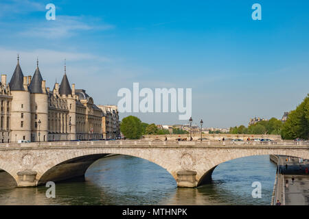 Located in Paris near the Conciergerie, Pont au Change was commissioned by Emperor Napoleon III. - Stock Photo