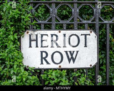 Heriot Row street sign, New Town, Edinburgh, Scotland, United Kingdom - Stock Photo