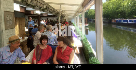 The Summerhouse restaurant on the Canal at Little Venice in London - Stock Photo