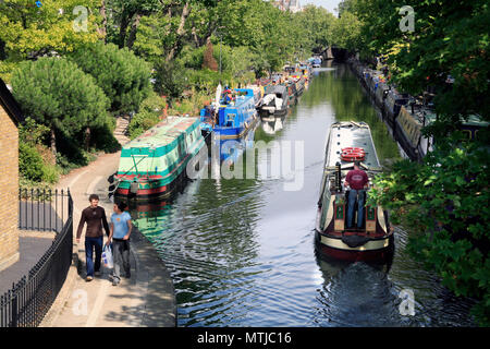 Narrowboat and Houseboats at Regents Canal 'Little Venice' in London - Stock Photo