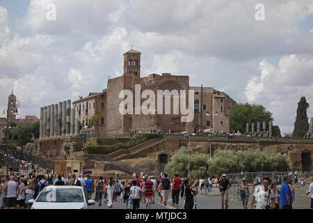 ROME, ITALY - 9  SEPTEMBER 2017: The Temple of Venus and Roma maybe the largest temple ancient Rome. Located on the Velian Hill, between the Roman For - Stock Photo