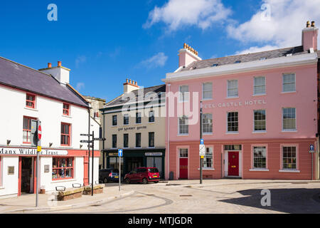 Old town buildings and shops around Market Place, Peel, Isle of Man, British Isles - Stock Photo
