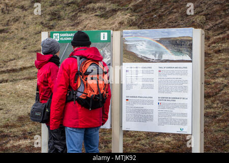 Sigridarstadir. Tourists visiting Gullfoss, a waterfall located in the canyon of Hvítá river in southwest Iceland, one of the most popular tourist attractions in Iceland. - Stock Photo
