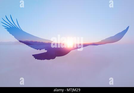 Bald eagle on sunset sky background double exposure illustration - Stock Photo
