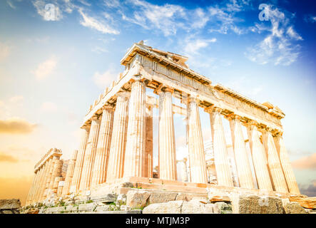 Parthenon temple over sunrise sky background, Acropolis hill, Athens Greece, toned - Stock Photo