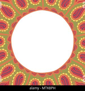 Coloring book pages for kids and adults. Hand drawn abstract design. Decorative Indian round lace ornate mandala. Frame or plate design - Stock Photo