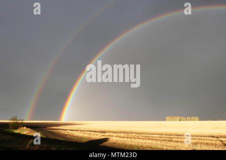 Great double rainbow over field - Stock Photo