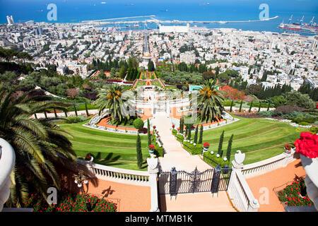 Panoramic view on Haifa from  beautiful  Bahai Gardens. Israel. - Stock Photo