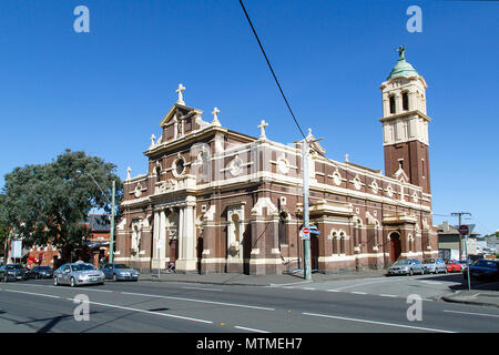 Melbourne, Australia: April 13, 2018: Sacred Heart Catholic church on Grey Street have been running a  mission for many years to help the homeless. - Stock Photo