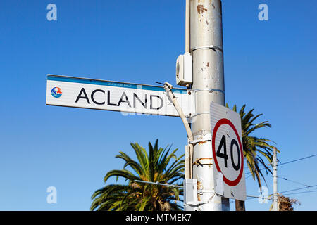 Melbourne, Australia: April 13, 2018: Street sign for Acland Street with a City of Port Phillip insignia. - Stock Photo
