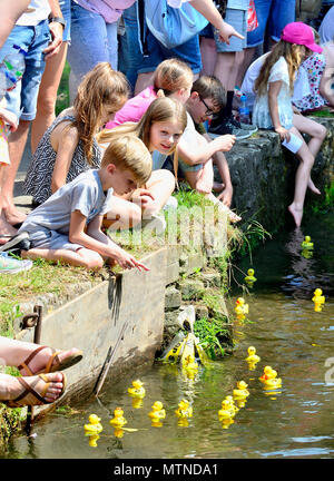 May Bank Holiday Duck Race in Loose Village, Kent. Children watch the ducks pass on Loose Brooks at the annual event. - Stock Photo