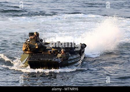 170113-N-ME988-601 ATLANTIC OCEAN (Jan. 13, 2017) – An amphibious assault vehicle with 24th Marine Expeditionary Unit approaches the well deck aboard the amphibious dock landing ship USS Carter Hall (LSD 50). Carter Hall is underway with the Bataan Amphibious Readiness Group participating in Composite Training Unit Exercise (COMPTUEX). (U.S. Navy photo by Mass Communication Specialist 1st Class Darren M. Moore/Released) - Stock Photo