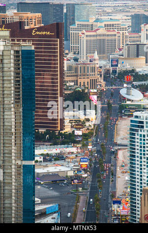 LAS VEGAS, NEVADA - MAY 15, 2018: View of world famous Las Vegas Boulevard also know as The Vegas Strip, with many luxury resort casino hotels in view - Stock Photo