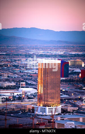 LAS VEGAS, NEVADA - MAY 15, 2018: View of world famous Las Vegas seen from above with many luxury resort casino hotels in view. - Stock Photo