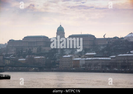 Budapest Hungary, 7th February 2018 View of the Royal Palace from the Pest side of the river. - Stock Photo